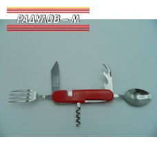 Сгъваем нож комбиниран с вилица и лъжица ЧЕРВЕН Т225 / 772