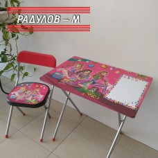 Детски комплект сгъваеми столче и масичка с декор за момиче / 200246-1