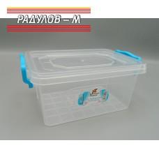 Кутия правоъгълна с щипки 1л / 201106