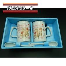 Комплект две чаши с лъжички / 6534