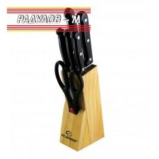 Комплект ножове с дървена поставка Elekom EK-07 / 70200
