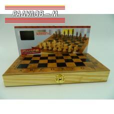 Шах и табла дървен 40см / 2629