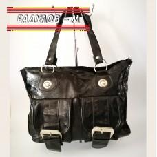 Дамска ежедневна чанта лак с джобове с катарами / 15480