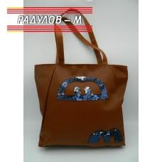 Дамска кожена чанта / 3381-1