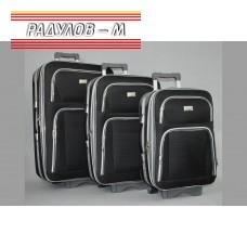 Комплект 3 броя разширяващи се куфари, текстилни в черен цвят / 6414-black
