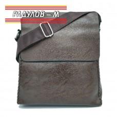 Мъжка кожена чанта с декоративен шев / 5143
