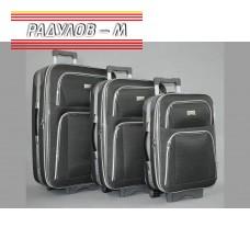 Комплект 3 броя разширяващи се куфари, текстилни в сив цвят / 6414-grey