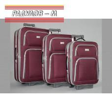 Комплект 3 броя разширяващи се куфари, текстилни в червен цвят / 6414-red
