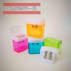 Двойна острилка с контейнер и капаче, различни цветове / 2694