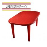 Елипсовидна маса пластмаса 135*82 см, червена / 0339 -1
