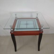Трапезна маса дърво със стъклен плот 80*80 см / 036