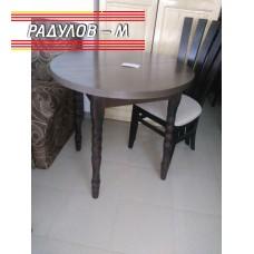 Трапезна разтегателна маса  Ф80 см, със струговани крака, тъмен орех / 771057