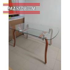 Трапезна маса дърво със стъклен плот 134*85 см / 891