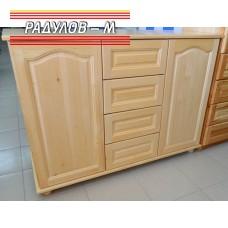 Скрин масив 120 см, две врати и четири чекмеджета, чам / 30356