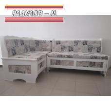 Разтегателен ъглов диван масив за трапезария, бял с дамаска принт / 30403-w