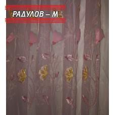 Фино перде в розово с релефни цветя / 1550