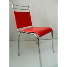 Трапезен стол червена кожа / 005А