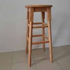 Бар стол с дървена седалка, цвят натурален / 7-008