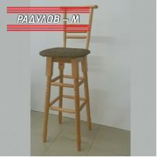 Бар стол с облегалка, цвят натурален / 7-009
