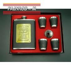 Комплект метална манерка фласка с четири чаши / 593