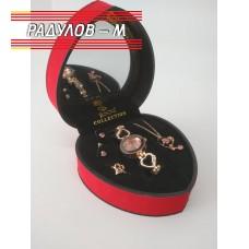 Дамски подарчен комплект в кутия сърце - различни видове / 4755