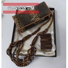 Дамски подаръчен комплект портмоне естествен лак, колие и гривна