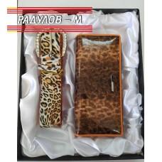 Дамски подаръчен комплект - портмоне естествена кожа и колан